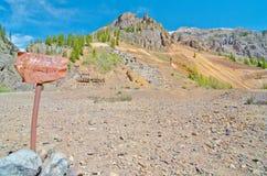 Fördärvar av en försilvra bryter i Silverton, i de San Juan bergen i Colorado Royaltyfri Fotografi