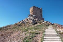Fördärvar av en forntida fästning i Balaklava Royaltyfria Foton