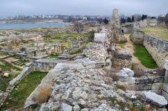 Fördärvar av en forntida stad av Chersonese & x28; Crimea& x29; royaltyfri foto