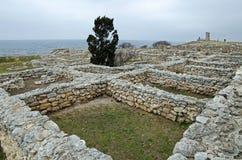 Fördärvar av en forntida stad av Chersonese & x28; Crimea& x29; arkivfoto