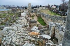 Fördärvar av en forntida stad av Chersonese & x28; Crimea& x29; arkivbild