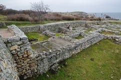 Fördärvar av en forntida stad av Chersonese & x28; Crimea& x29; arkivfoton