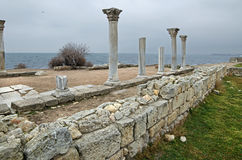Fördärvar av en forntida stad av Chersonese & x28; Crimea& x29; royaltyfri bild