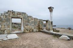 Fördärvar av en forntida stad av Chersonese & x28; Crimea& x29; royaltyfri fotografi