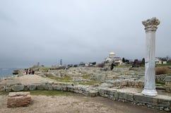 Fördärvar av en forntida stad av Chersonese & x28; Crimea& x29; royaltyfria bilder