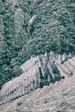 Fördärvar av en forntida stad på Inca Trail till Machu Picchu, Peru arkivfoto