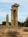 Fördärvar av en forntida tempel av Apollo på Rhodes Royaltyfri Fotografi