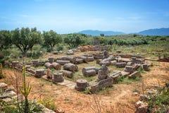 Fördärvar av en roman villa i Aptera, Kreta Grekland royaltyfria bilder