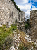 Fördärvar av en slott i Sesena, Castilla la Mancha, Spanien Arkivbild