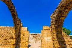 Fördärvar av forntida Caesarea Arkivbild