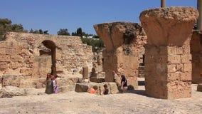 Fördärvar av forntida Carthage i Tunisien lager videofilmer