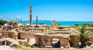 Fördärvar av forntida Carthage Tunis Tunisien, Nordafrika Arkivfoton