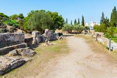 Fördärvar av forntida Kerameikos i Aten, Grekland Royaltyfri Fotografi