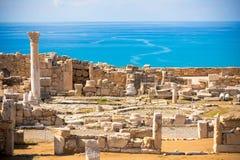 Fördärvar av forntida Kourion Limassol område cyprus Arkivfoto