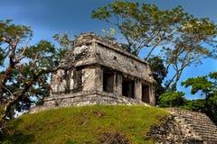 Fördärvar av forntida mayan städer Palenque tempel royaltyfri fotografi