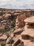 Fördärvar av forntida pueblos i ökenkanjon Royaltyfri Bild