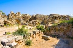 Fördärvar av forntida salamistad Famagusta område cyprus arkivbild