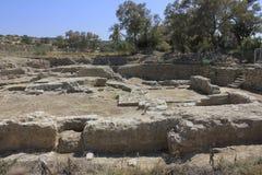 Fördärvar av forntida stad av bibliska Ashkelon i Israel royaltyfri bild