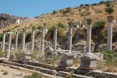 Fördärvar av forntida stad av Ephesus, Turkiet Royaltyfria Bilder