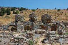 Fördärvar av forntida stad av Ephesus, Turkiet Arkivfoto