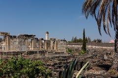 Fördärvar av forntida synagoga i Capernaum - Israel Royaltyfria Foton