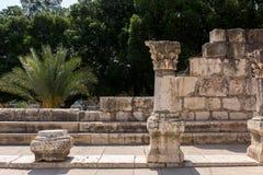 Fördärvar av forntida synagoga i Capernaum - Israel Arkivfoto