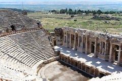 Fördärvar av forntida teater i Hierapolis, Turkiet Arkivfoto