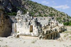 Fördärvar av forntida teater i Xanthos, Turkiet Royaltyfri Fotografi