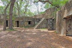 Fördärvar av fortet Fremont nära Beaufort, South Carolina fotografering för bildbyråer