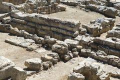 Fördärvar av fundamentet av slotten av Knossos royaltyfria bilder