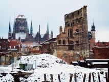 Fördärvar av gammal stad i Gdansk Polen Arkivfoton