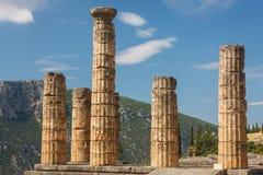 Fördärvar av gammalgrekiskastaden av Delphi (Delfi), Grekland Arkivfoton