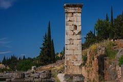 Fördärvar av gammalgrekiskastaden av Delphi (Delfi), Grekland Royaltyfri Bild