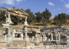 Fördärvar av gammalgrekiskastaden Ephesus Arkivfoto