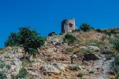 Fördärvar av Genoese Cembalofästning balaklava crimea royaltyfri fotografi