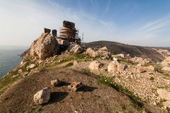 Fördärvar av Genoese Cembalofästning balaklava crimea arkivfoto