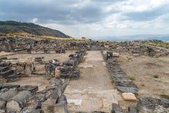 Fördärvar av greken - romersk stad av det 3rd århundradet F. KR. - den 8th århundradeANNONSEN Hippus - Susita på Golan Heights nä Arkivfoto