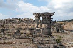 Fördärvar av greken - romersk stad av det 3rd århundradet F. KR. - den 8th århundradeANNONSEN Hippus - Susita på Golan Heights nä Royaltyfria Foton