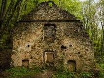 Fördärvar av hus i skogen, väggarna av den gamla byggnaden arkivfoton