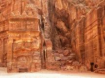 Fördärvar av jordansk forntida stad av Petra Arkivfoto