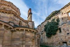 Fördärvar av kloster av Jultomten MarÃa de Moreruela var en kloster som tillhör den Cistercian beställningen Zamora, Spanien royaltyfri bild