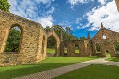 Fördärvar av kyrka i port Arthur Historic Site Arkivbild
