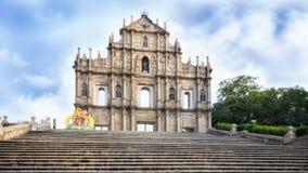Fördärvar av kyrkan för St Paul ` s, Macao Royaltyfri Foto