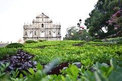 Fördärvar av kyrkan för St. Pauls, Macao Royaltyfria Bilder