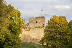Fördärvar av Livoniabeställningsslotten byggdes i mitt av det 15th århundradet Bauska Lettland i höst Lettisk flagga på till Arkivbild