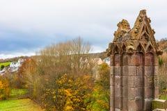 Fördärvar av Melroseabbotskloster i skottegränsregionen i Scotlan Arkivbild
