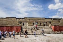 Fördärvar av Mitla i Oaxaca Mexico arkivbilder