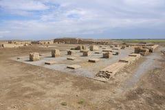 Fördärvar av Otrar (Utrar eller Farab), den centrala asiatiska spökstaden, det södra Kasakhstan landskapet, Kasakhstan Arkivbild
