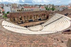 Fördärvar av Roman Odeon, Patras, Peloponnese, Grekland Royaltyfri Bild