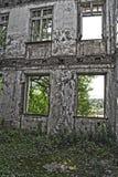Fördärvar av sjaskig byggnad som täckas av vegetation Arkivbild